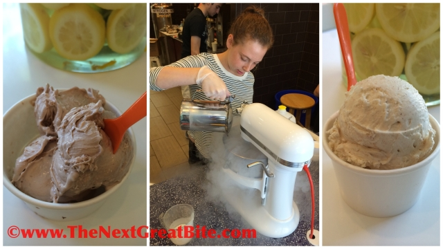 Nutella ice cream, Nicecream blending ingredients in KitchenAid and Spiced Vanilla ice cream.