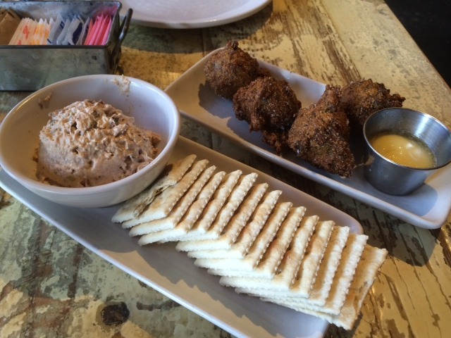 Smoked Tuna Dip and Hushpuppies