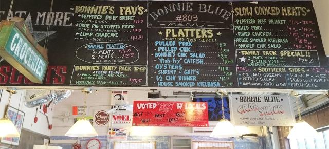 Bonnie Blue menu