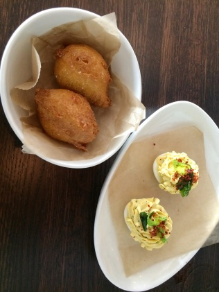 Pimento Cheese Hush Puppies and Deviled Ham with Eggs