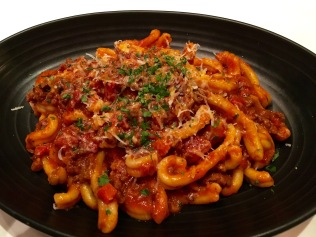 Gemelli pasta with beef bolognese